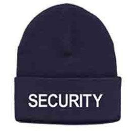 Knit Watch Cap, Navy w/Security Embroidery