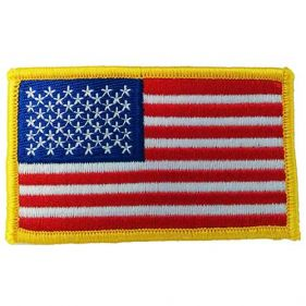American Flag Patch with Gold Border, Left Sleeve